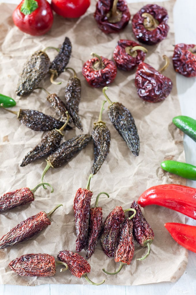 dried peppers on crinkled brown paper