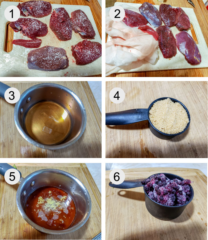Duck on board with salt. Duck rinsed and dried with paper towel. Vinegar in small pot. Measured brown sugar. Onion and garlic grated into pot. Frozen blueberries in cup.