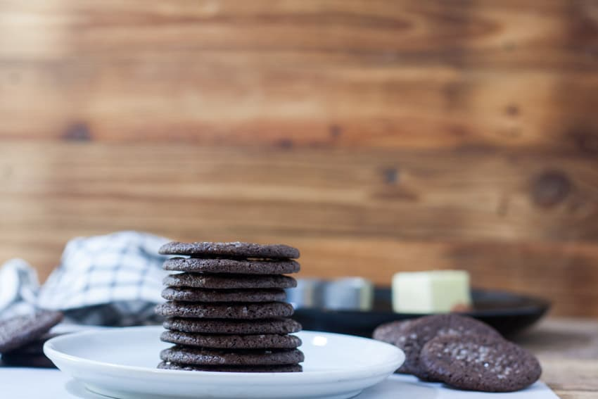 Stacks of dutch chocolate cookies