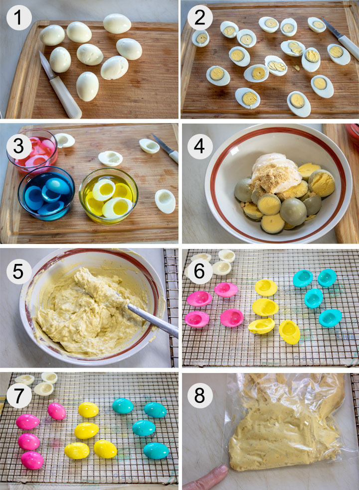 Hard boiled eggs on board. Eggs cut in half. Eggs dyeing in bowl. Mayonnaise added to egg yolks. Yolk filling mixed up in bowl. Egg halves drying on rack. Egg halves turned over so both sides dry. Filling in piping bag.
