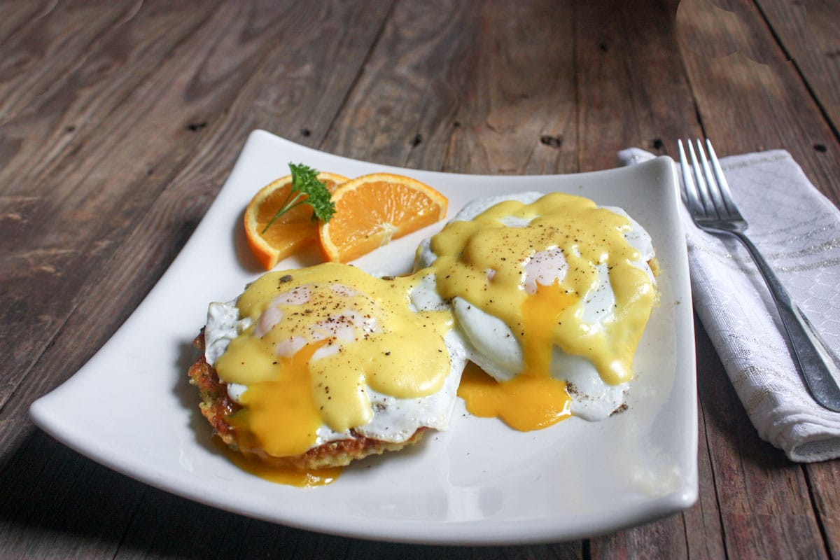 Eggs Benedict, Lox on white plate