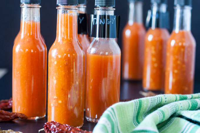 bottles of homemade hot sauce
