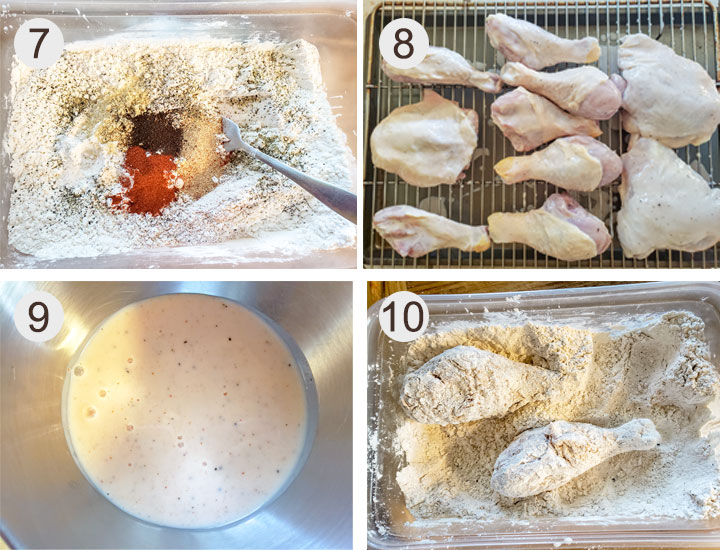 Dry ingredients. chicken on wire rack. Bowl of marinade. Chicken floured.