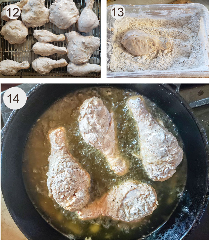 dredged chicken on wire rack. dipped in flour. Frying chicken.
