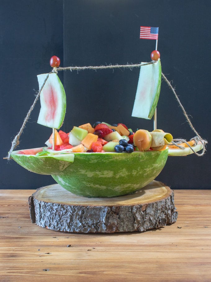Mixed fruit salad in watermelon boat