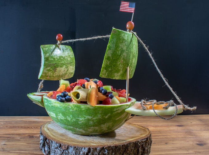 watermelon ship with American flag