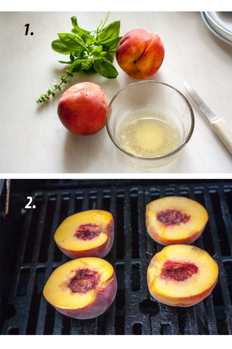 Ingredients for grilled peaches