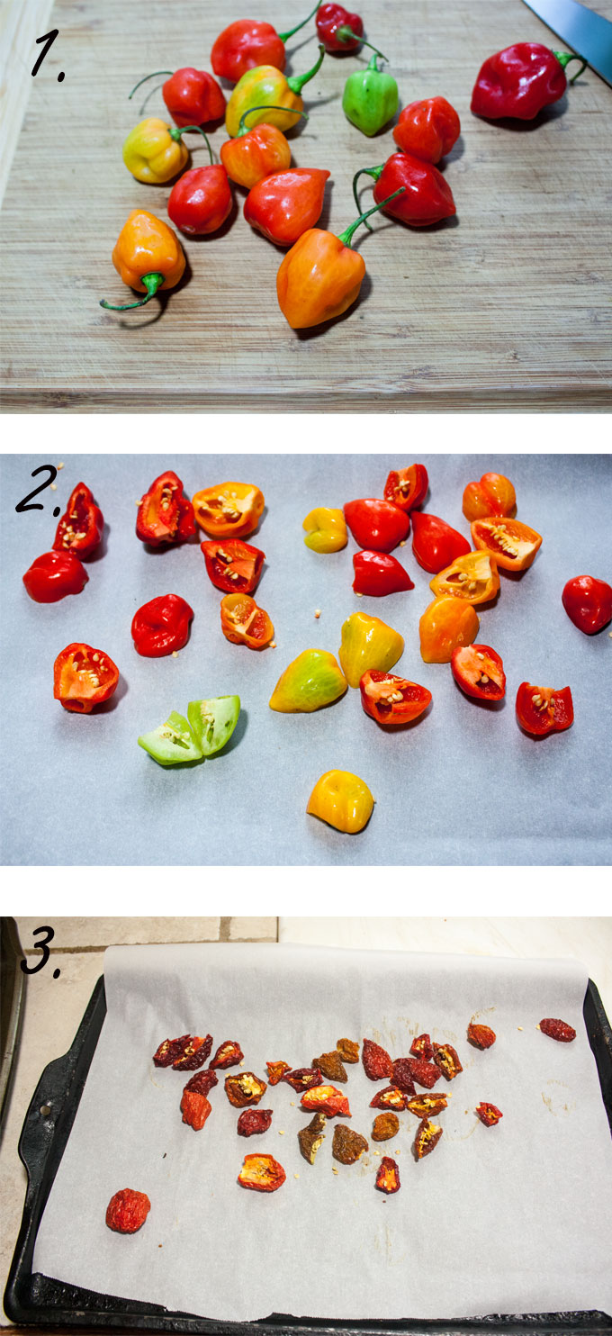 Washed habanero peppers. Peppers cut in half. Dried peppers on sheet.