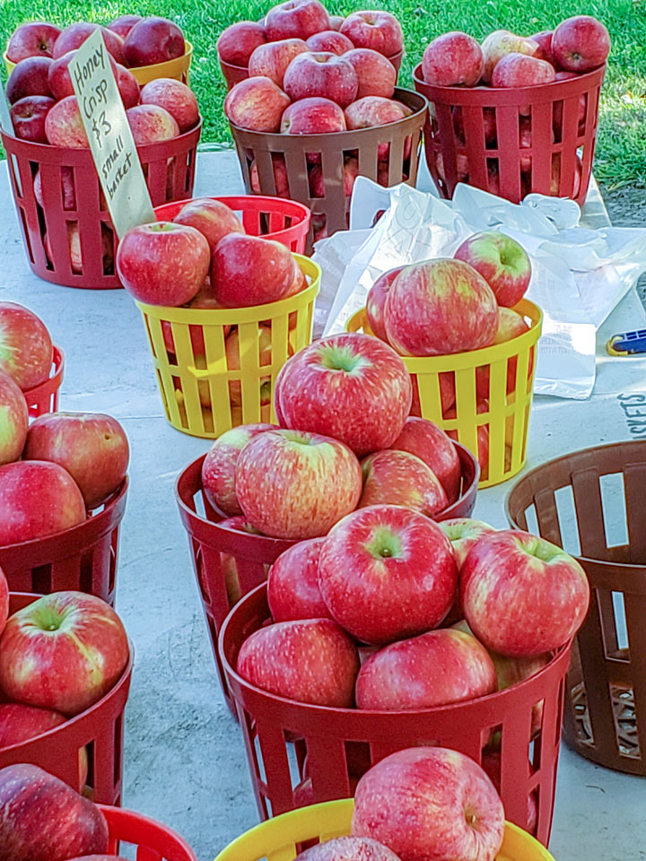 Apples in baskets on stand
