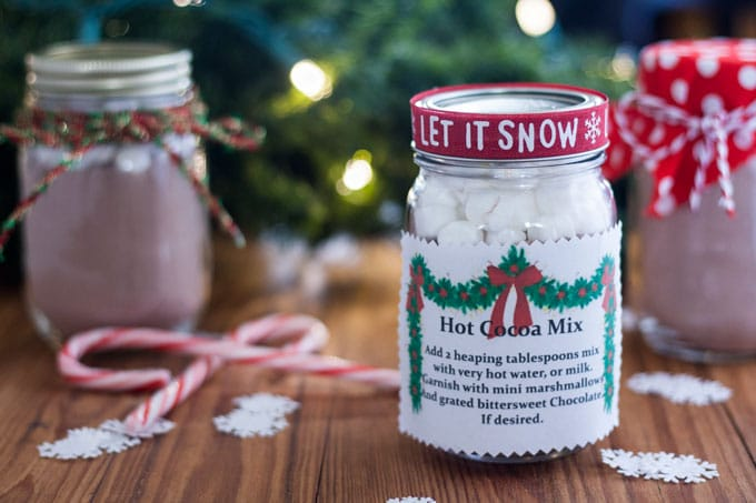 Hot chocolate mix in decorated jars.