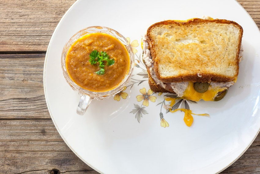 Grilled cheese , whole on homemade bread with jalapenos and cup of carrot soup