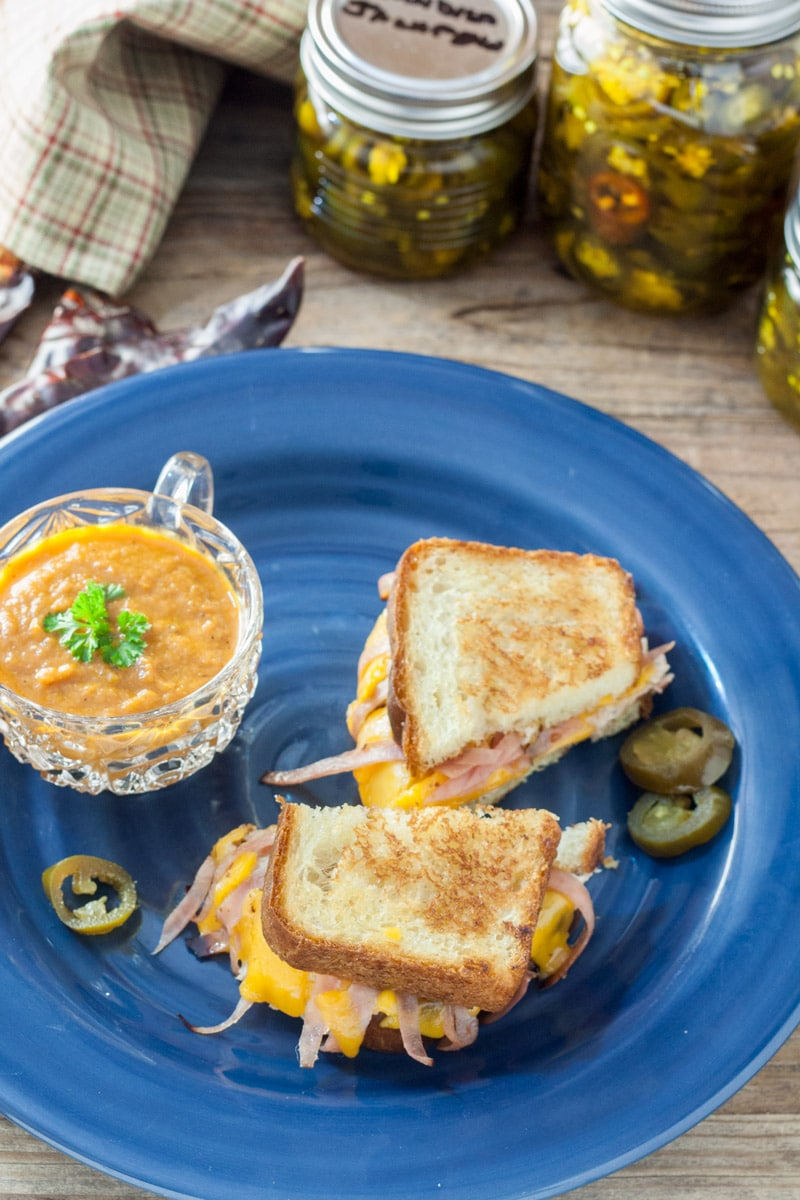 Grilled cheese , cut in half on homemade bread with jalapenos and cup of carrot soup on blue plate