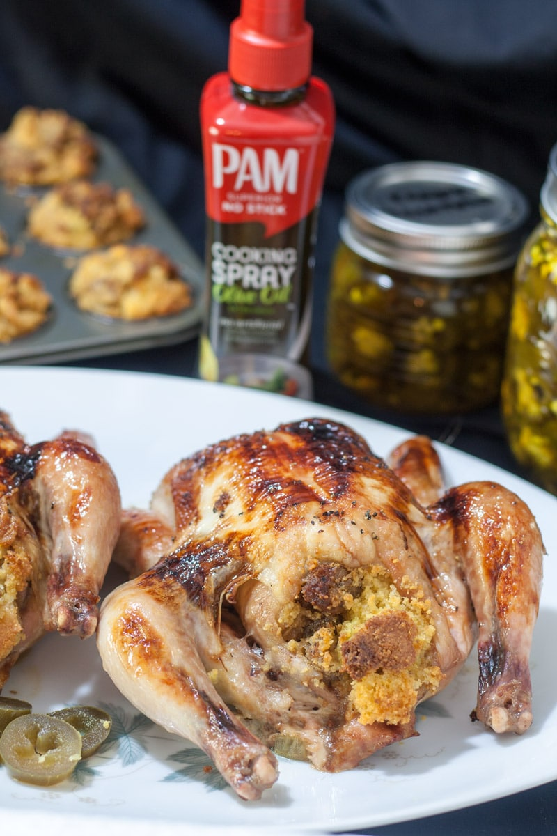Sweet & Spicy Jalapeño Glazed Roasted Game Hens stuffed with Cornbread stuffing