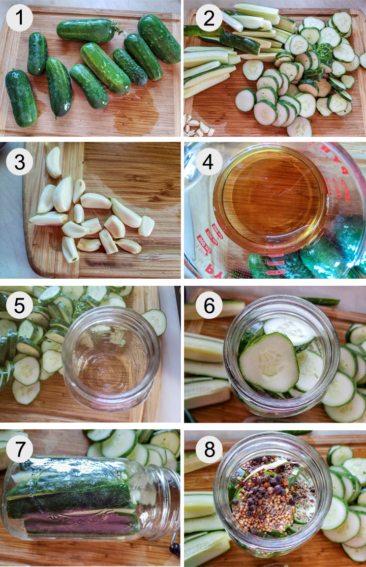 cucumbers on bamboo board. Cucumbers sliced into spears and rounds. Garlic on bamboo board. Vinegar in measuring cup. Empty, sterilized canning jar. Cucumber chips packed into jar. jar layed on side packed with cucmber spears. Spices added to jars.