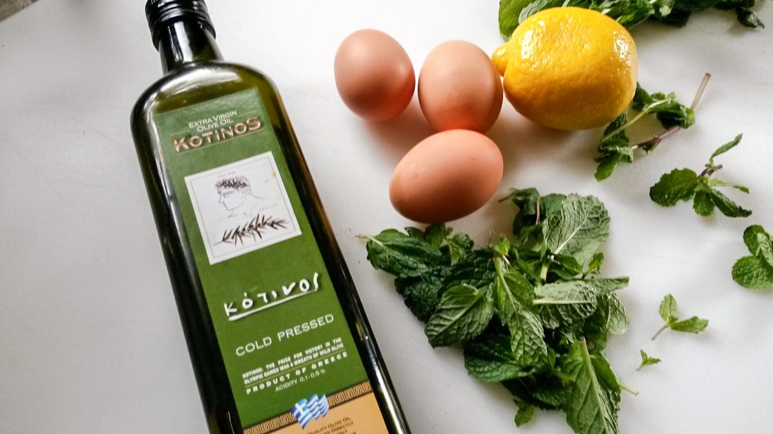 ingredient shot with olive oil, eggs, lemon and mint