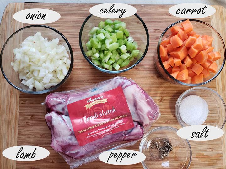 Ingredients for making lamb shank.