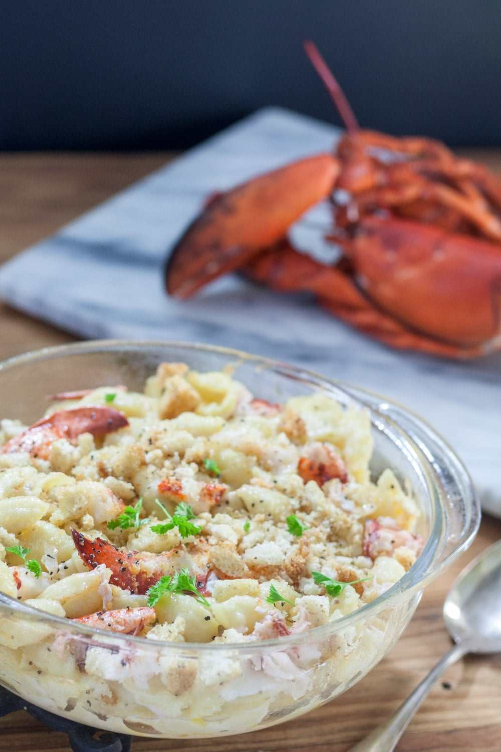 Lobster Milk free Mac & Cheese in clear casserole
