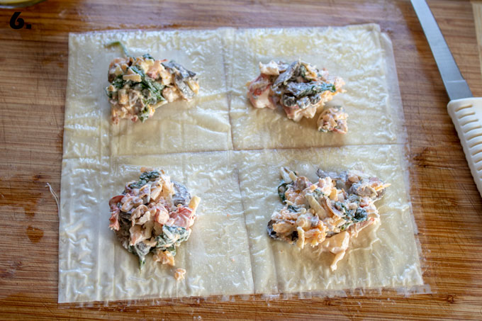 filling in center of cut phyllo sheets