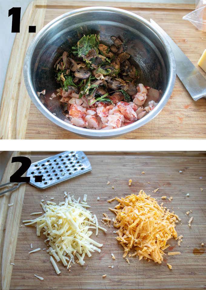 Filling ingredients in bowl. Cheeses grated on cutting board.