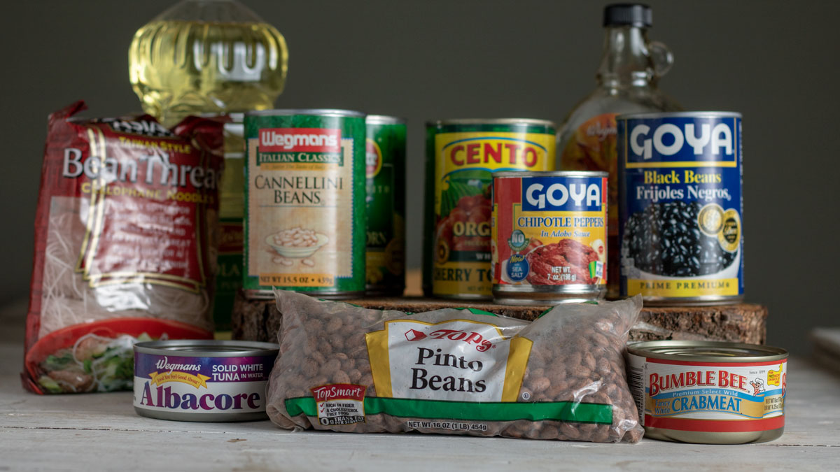 Group of canned goods.
