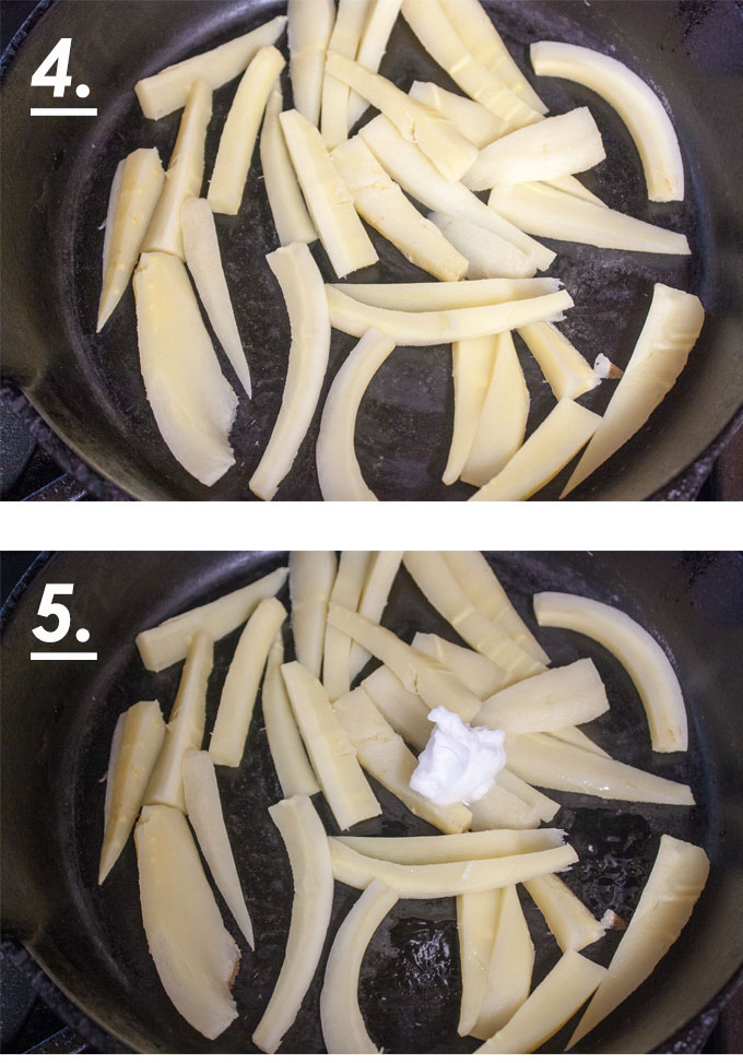 Drained, blanched parsnips. Coconut oil added to pan.
