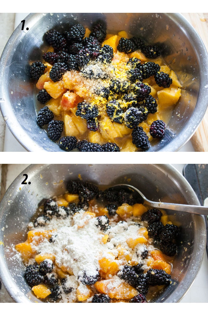 blackberries peaches in metal bowl with other ingredients