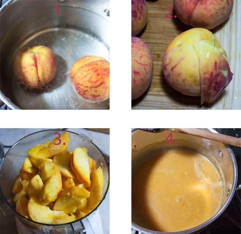Blanching peaches in pot. Removing peach skins. Peaches in food processor. Peach juice in pot.