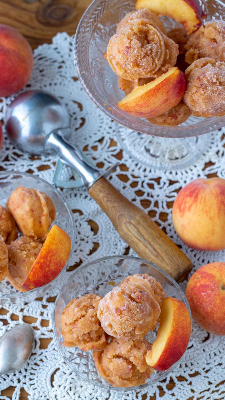 Fresh peaches with peach sorbet.