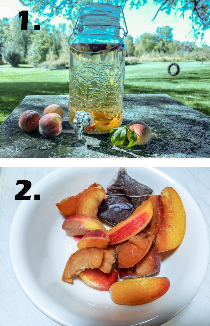 Peaches, tea bags and water in glass beverage container. peach slices and tea bags removed from beverage container.