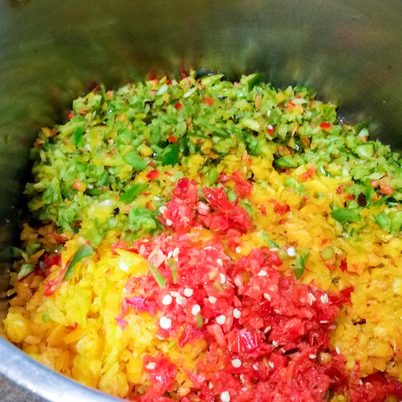 chopped up peppers in pot