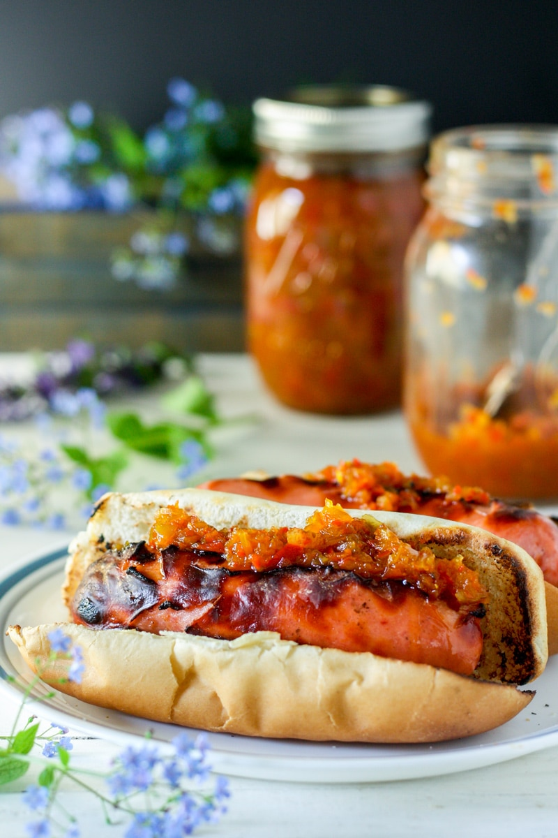 sweet pepper relish piled on weiner