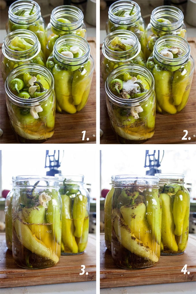 process photos for making pickled peppers