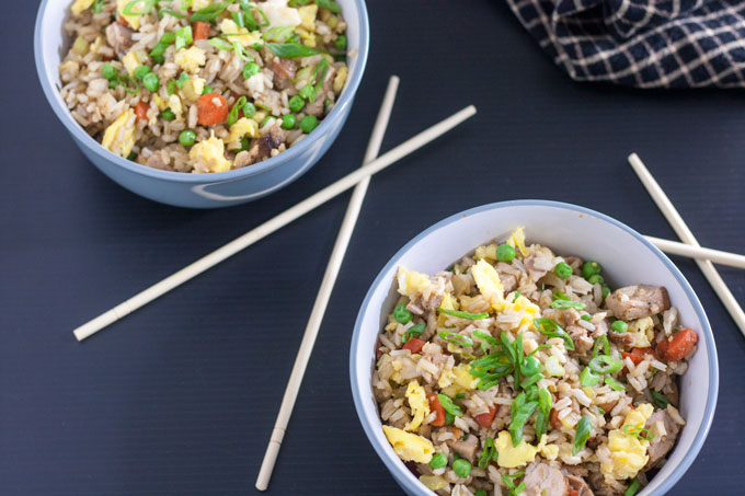 pork fried rice with scallion garnish