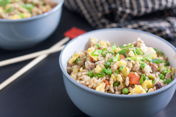 pork fried rice in gray bowl