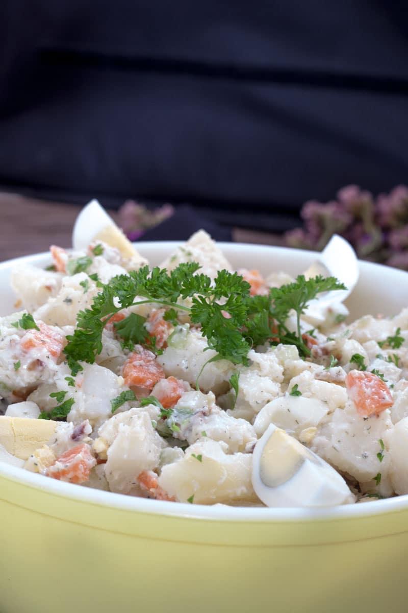 Mom's Bacon & Egg Potato Salad - Binky's Culinary Carnival