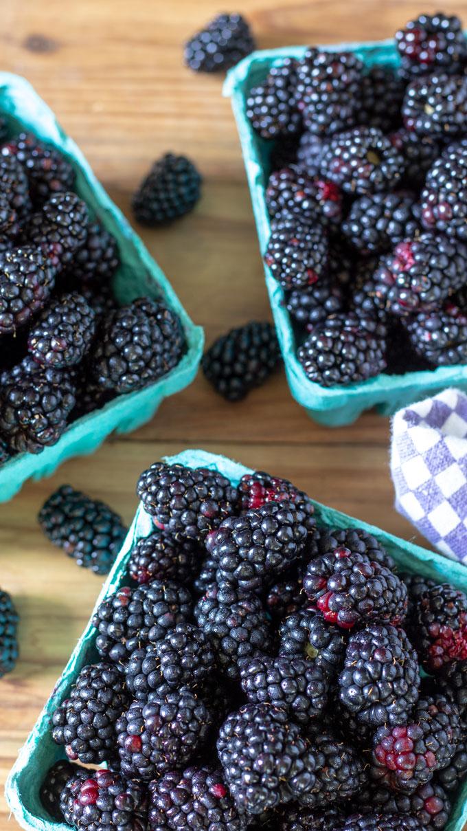 baskets of blackberries