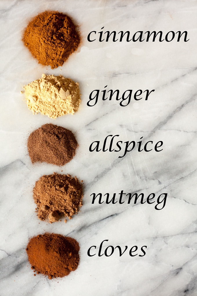 ingredients for pumpkin pie spice on marble board