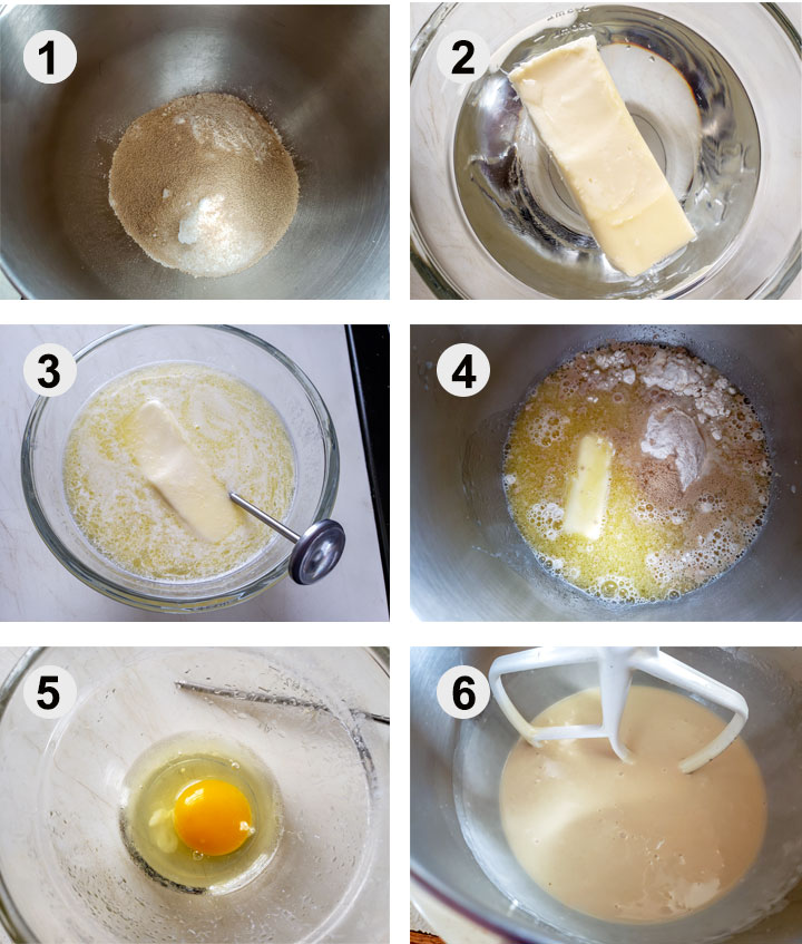 Dry ingredients in mixing bowl. Water and butter in bowl. Melted butter in bowl. Liquids added to dry ingredients. Egg in bowl. Beaten dough in mixing bowl.