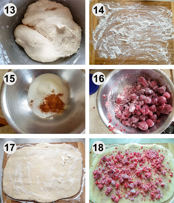 Dough after resting. Floured board. Cinnamon mixed with sugar. Raspberries mixed with cornstarch. Dough rolled into rectangle and spread with butter. Cinnamon sugar and raspberries sprinkled on to dough.