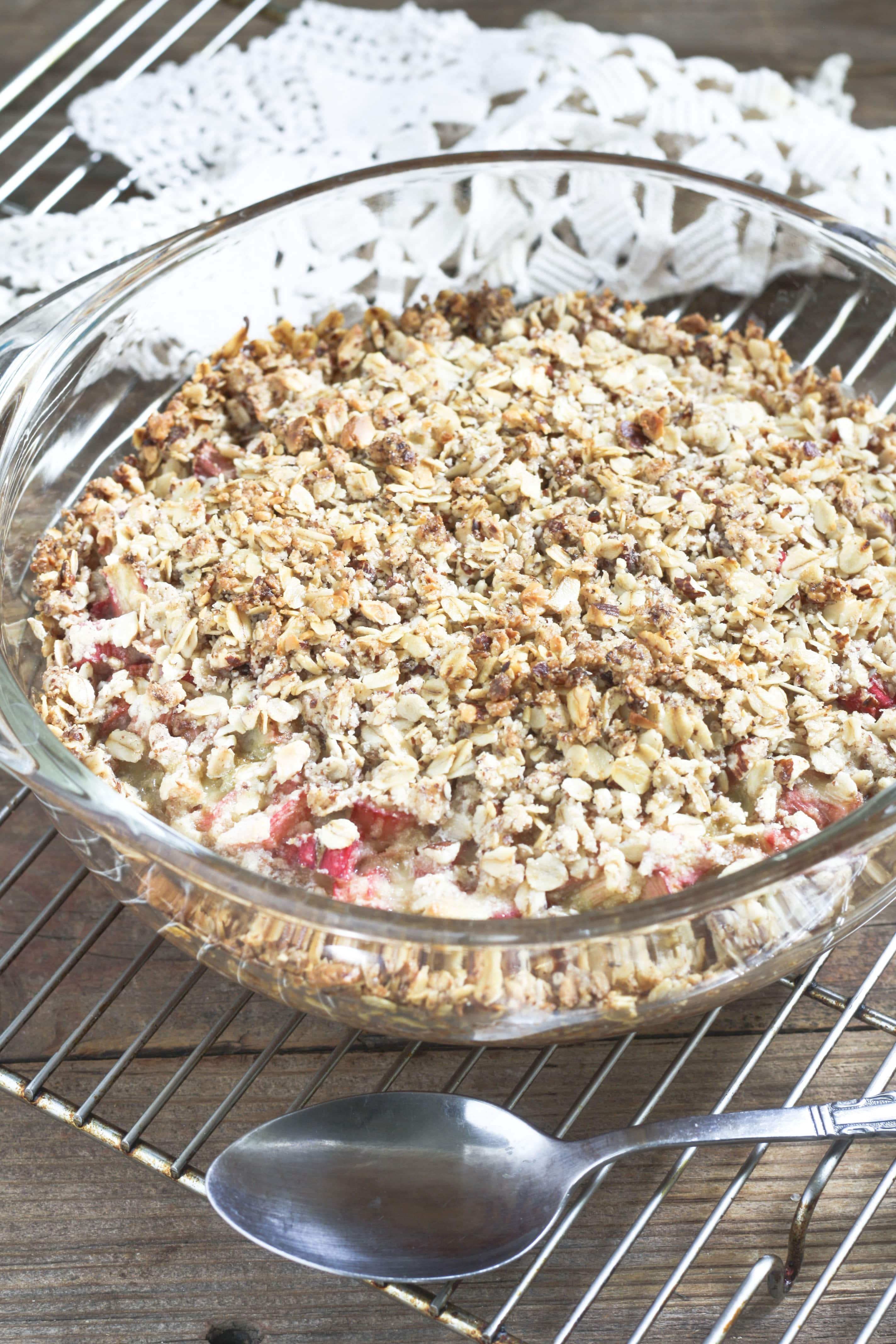 Whole Rhubarb Custard Crisp with spoon