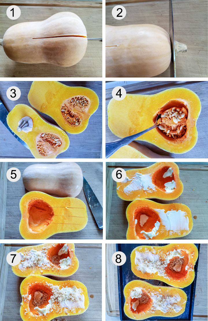 Half of butternut cut down the middle. Cutting stem off of butternut. Butternut squash cut in half. Removing seeds from sliced squash. Seeds removed from squash. Butter spread on squash halves.Pepper sprinkled on butter. Brown sugar sprinkled on squash.