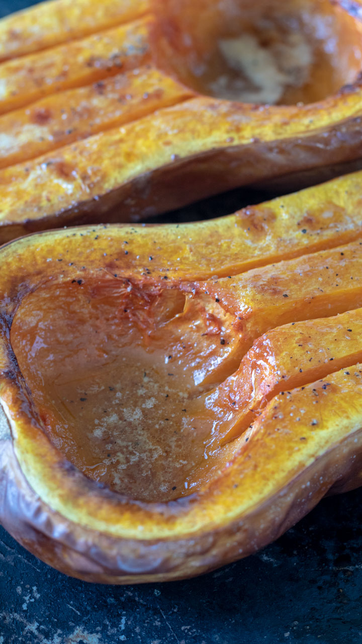 close up of slice of butternut squash.