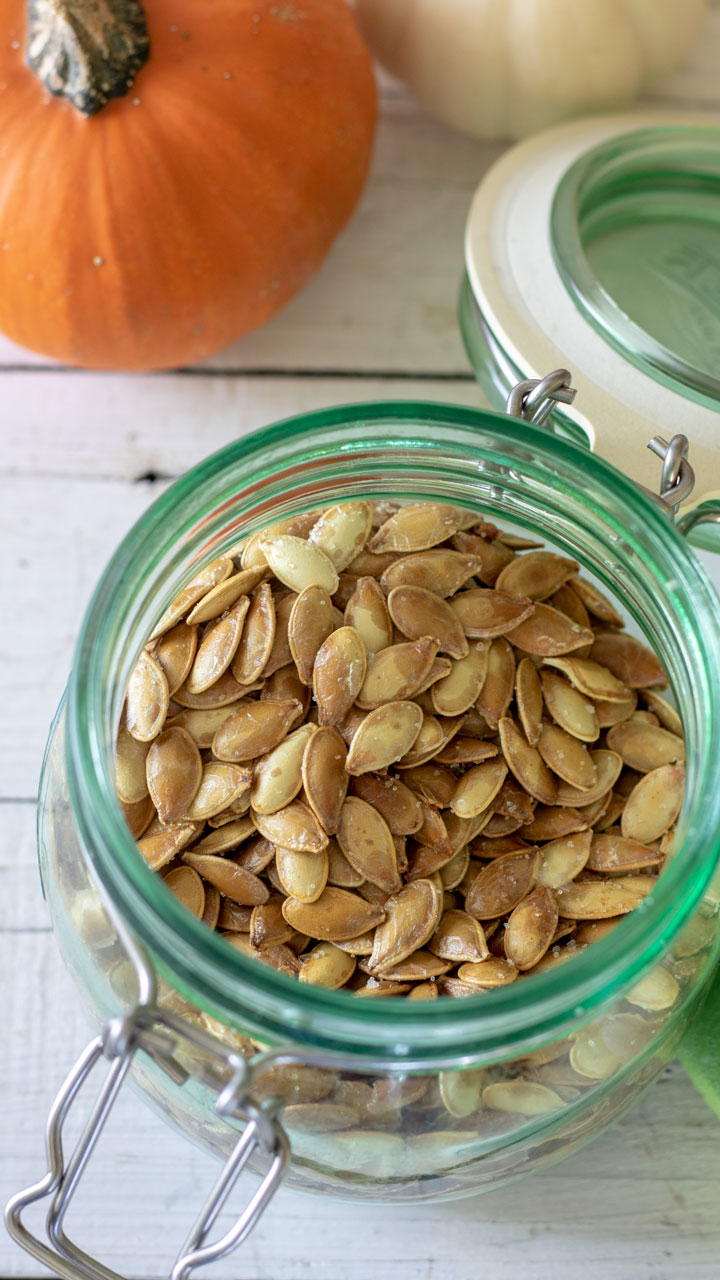 Pumpkin seeds in jar.