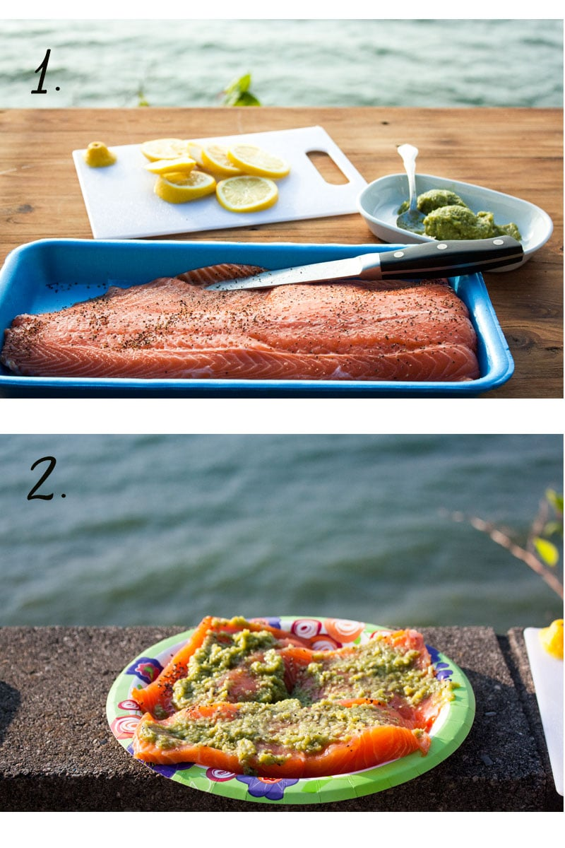 collage of steps for making the recipe for salmon with pesto