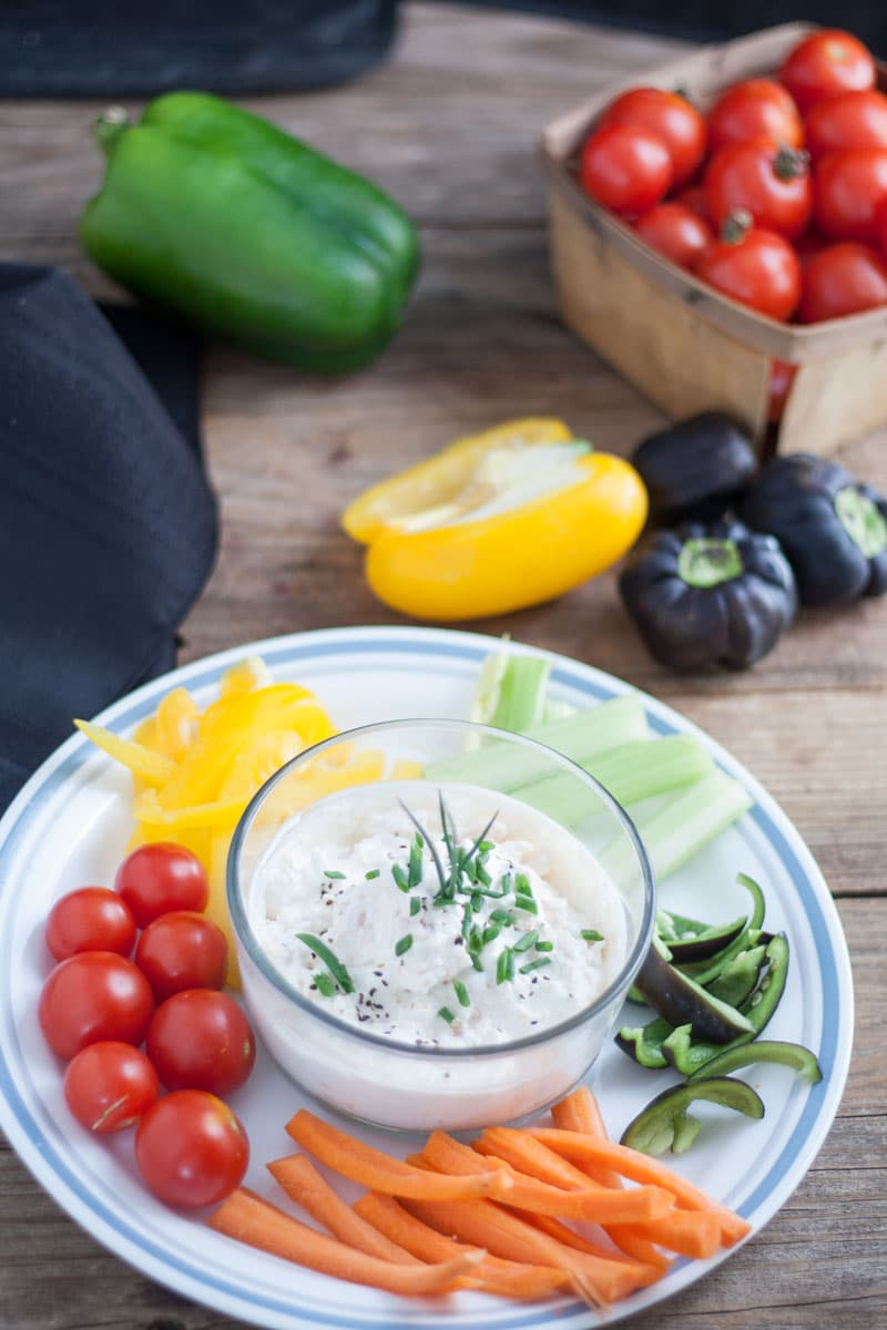 Shrimp Crab Dip for Crudités with carrots, celery, cherry tomatoes and colorful peppers, for dipping