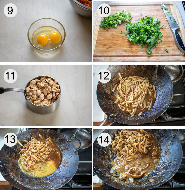 Eggs cracked into small bowl. Scallions and parsley chopped on board. Peanuts in measuring cup. Noodles added to sauce in wok. Eggs added to sauce. Eggs cooked in sauce in wok.