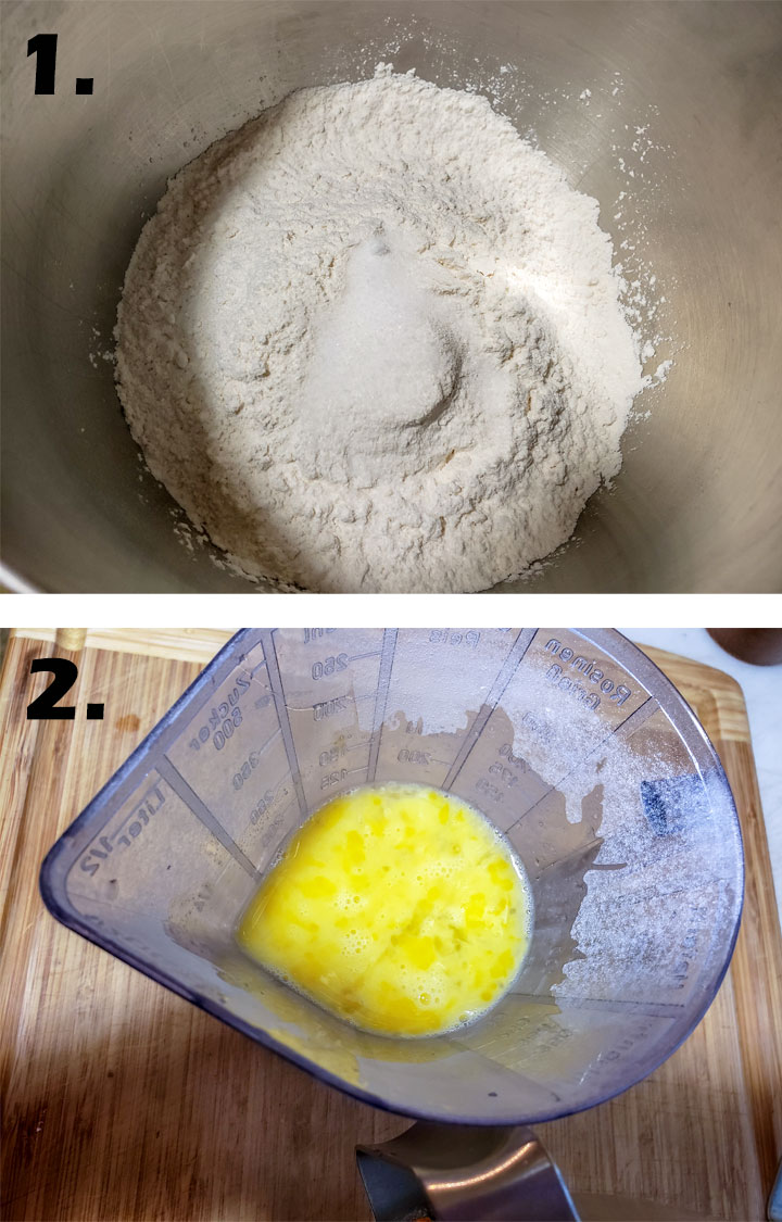dry ingredients in mixing bowl. Whisked eggs.