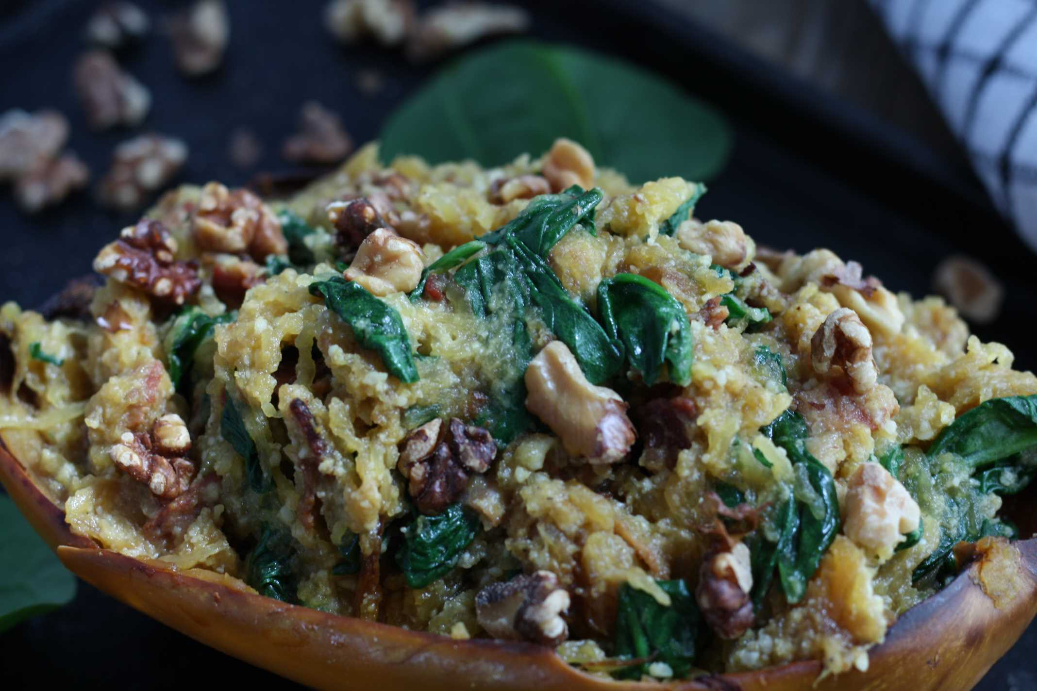 Spaghetti Squash Spinach and Bacon Boats 2