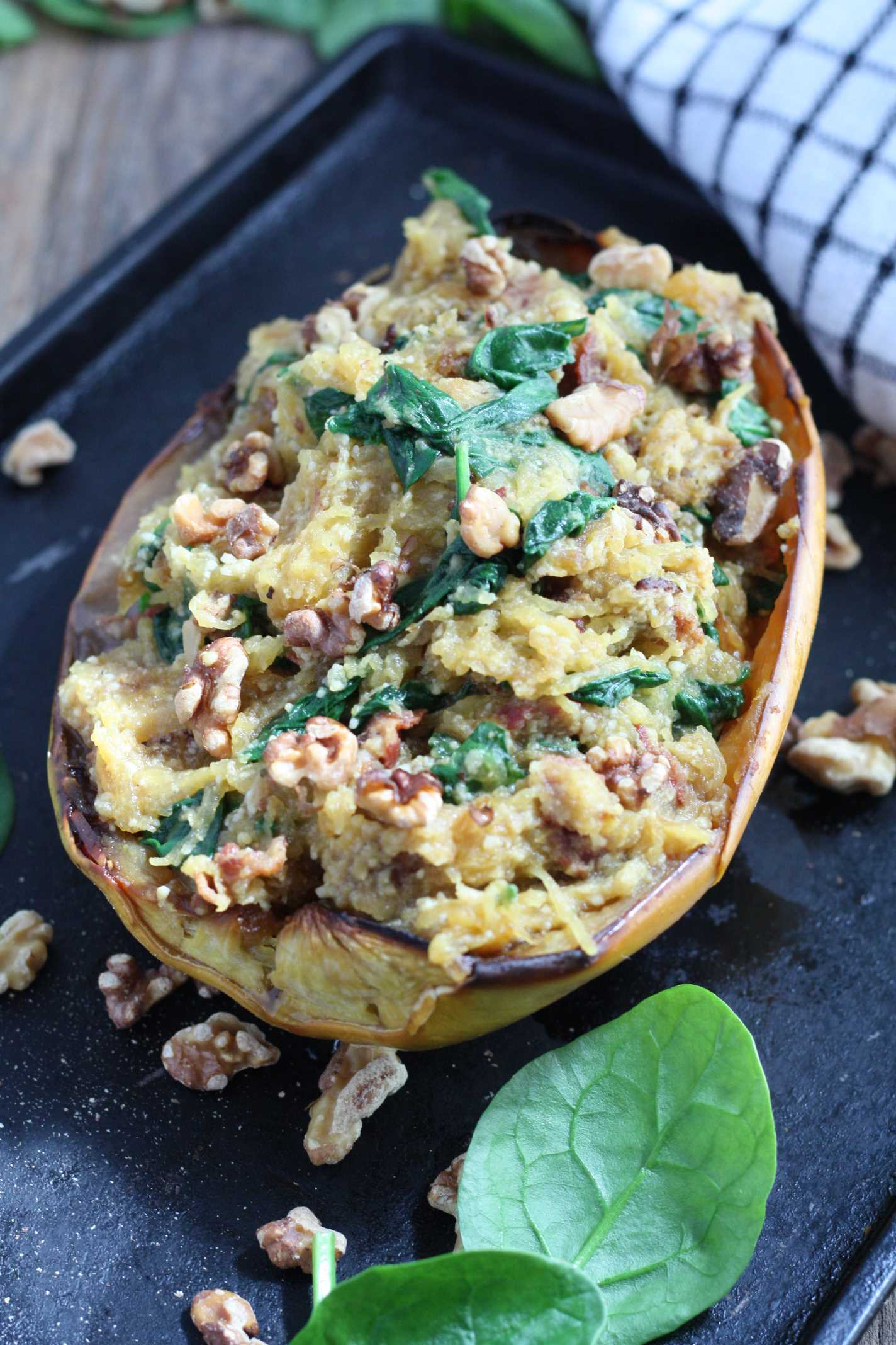 Spaghetti Squash Spinach and Bacon Boats 4