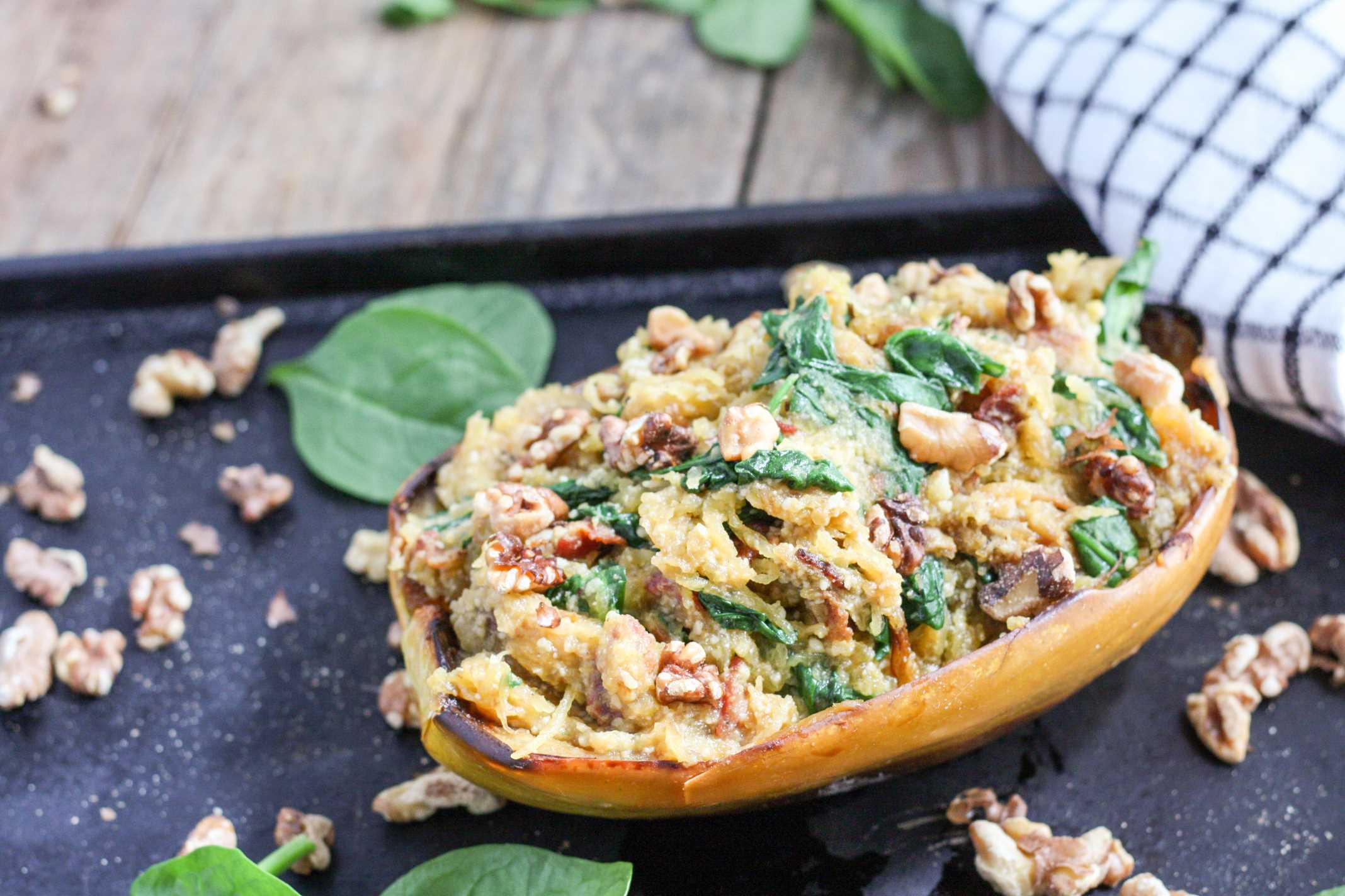 Spaghetti Squash Spinach and Bacon Boats 3